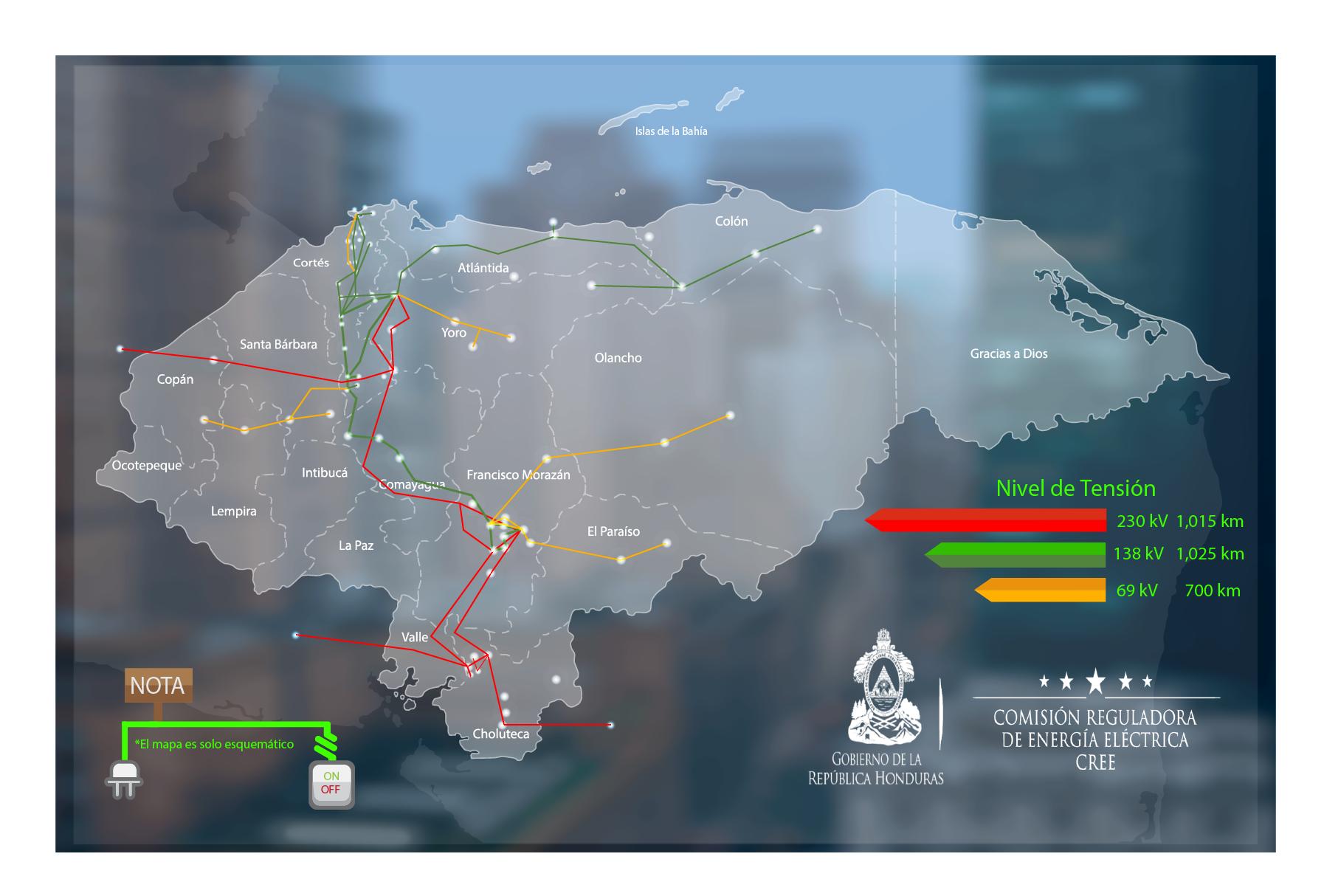Mapa del Sistema Interconectado Nacional
